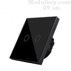 Сензорен ключ за осветление двуканален черен