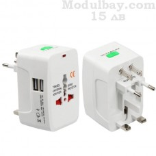 Универсален адаптер-преходник с 2 USB зарядни