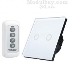 Сензорен ключ за осветление двуканален с дистанционно управление(4 бутона)-бял